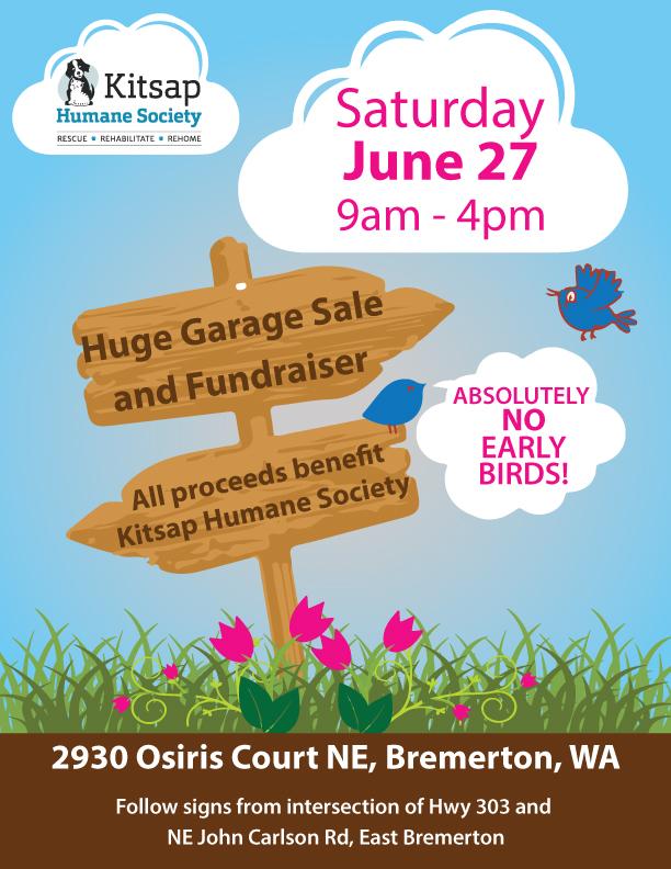 kitsap humane society garage sale to benefit khs